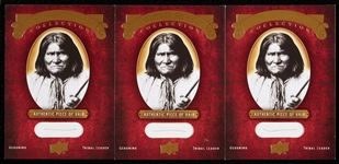 Geronimo Upper Deck & University Archives Hair Cards (3)