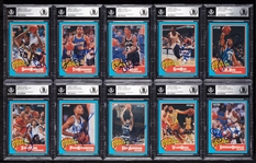 Signed 1990-91 Fleer Rookie Sensations Complete Set with David Robinson (10) (BAS)