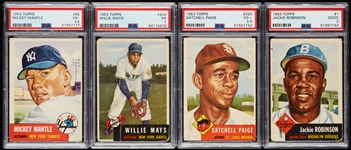 1953 Topps Baseball Complete Set, PSA 3.5 Mantle and Paige (274)