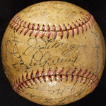 1937 New York Yankees World Champs Team-Signed OAL Baseball with Lou Gehrig, Joe DiMaggio on Sweet Spot (BAS)