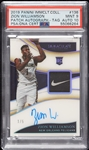 2019 Panini Immaculate Zion Williamson RC No. 136 Patch Autograph TAG (1/5) PSA 9 (AUTO 10)
