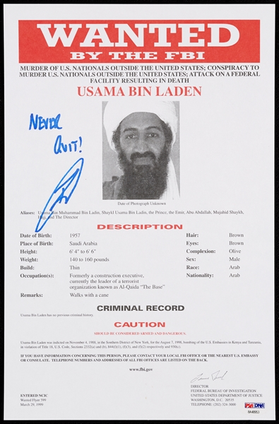 Robert J. O'Neill Signed Osama Bin Laden Wanted By the FBI Document Inscribed Never Quit - US Navy Seal Who Killed Bin Laden (PSA/DNA)