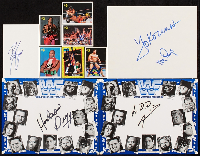 Wrestling Greats Signed Group with Hitman Hart, Lex Luger, Big Show (10)